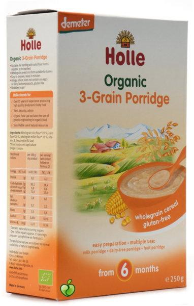 Holle Бебешка био безмлечна каша 3 вида зърна 6м 250 гр.